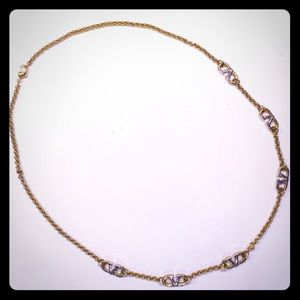 VALENTINO Logo Necklace-Yellow & White Gold Plated